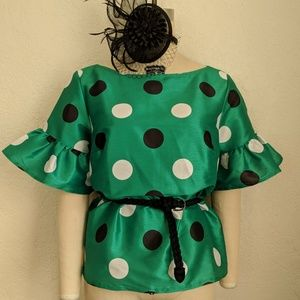 Tops - Vintage Large Polka Dot Blouse